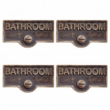 <PRE>4 Switch Plate Tags BATHROOM Name Signs Labels Antique Brass </PRE>zoom1
