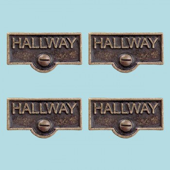 <PRE>4 Switch Plate Tags HALLWAY Name Signs Labels Antique Brass </PRE>zoom2
