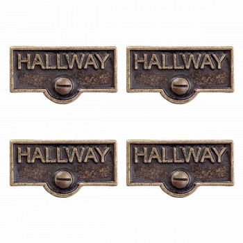 <PRE>4 Switch Plate Tags HALLWAY Name Signs Labels Antique Brass </PRE>zoom1