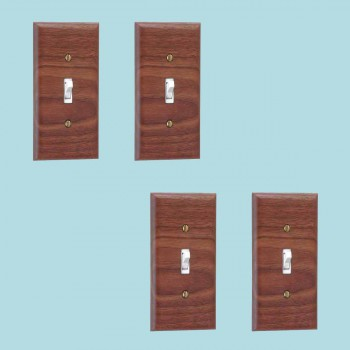 4 Switchplate Walnut Single Toggle Switch Plate Wall Plates Switch Plates