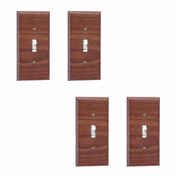 4 Walnut Single Toggle Switch Plate