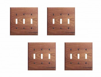 4 Walnut Triple Toggle Switch Plate