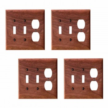4 Switchplate Walnut 2 ToggleOutlet Switch Plate Wall Plates Switch Plates