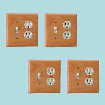 4 Switchplate Cherry Hardwood ToggleOutlet Switch Plate Wall Plates Switch Plates