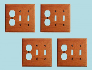 <PRE>4 Switch Wall Cover plate Cherry Double Toggle/Outlet </PRE>zoom2