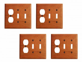 <PRE>4 Switch Wall Cover plate Cherry Double Toggle/Outlet </PRE>zoom1