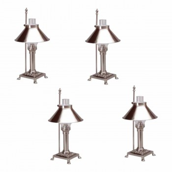 4 Table Lamp Silvertone Brass Lamp 20H Lamp Table Lights Lamps