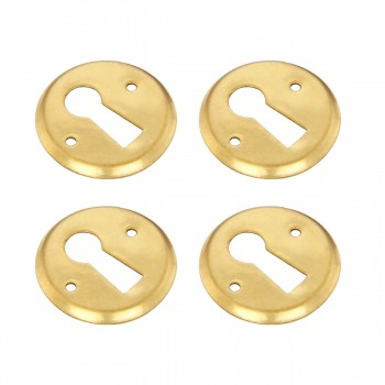 Round Keyhole Cover Bright Brass Escutcheon Tarnish Resistant 1 Dia Set of 4