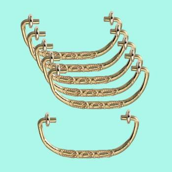 <PRE>6 Solid Brass Bail Pulls Victorian Scalloped  </PRE>