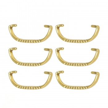 <PRE>6 Solid Brass Bail Pulls Victorian Ribbed  </PRE>zoom1