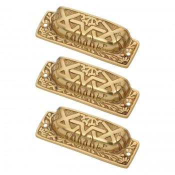 <PRE>Antique Bin Pull Bright Solid Brass Cup Pack of 3 </PRE>zoom1