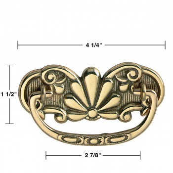 spec-<PRE>6 Antique Cabinet Drawer Pull Solid Brass Scalloped  </PRE>