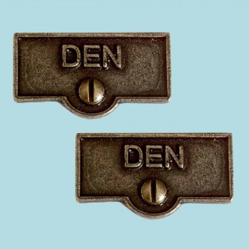 <PRE>2 Switch Plate Tags DEN Switchplate Name Signs Cast Brass </PRE>zoom2
