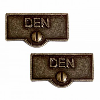 <PRE>2 Switch Plate Tags DEN Switchplate Name Signs Cast Brass </PRE>zoom1