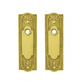Door Back Plate Solid Brass Beaded Without Keyhole 7 1/4