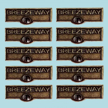 10 Switch Plate Tags BREEZEWAY Name Signs Labels Cast Brass Switch Plate Labels Switch Plate ID Labels Switch Plate Label