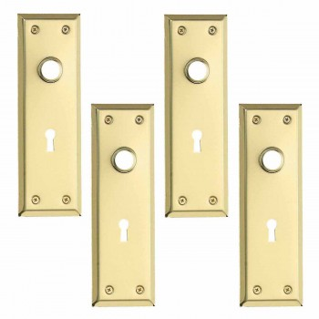 <PRE>4 Door Back Plate Bright Solid Brass Stamped w/Keyhole 7 3/4inch </PRE>zoom1