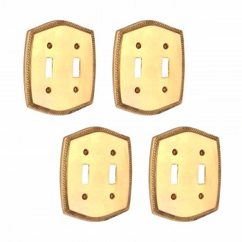 4 Colonial Bright Solid Brass 5 1/8 in. W Double Toggle switch plate