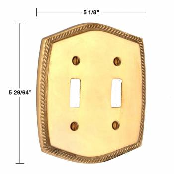 spec-<PRE>4 Switchplate Bright Solid Brass Double Toggle </PRE>