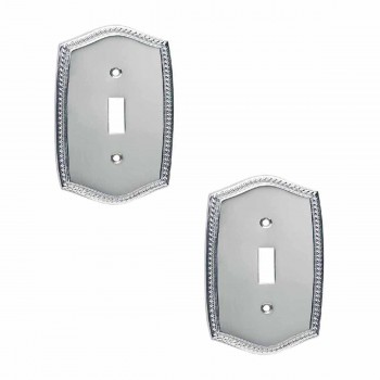 2 Colonial, Roped Chrome 5 in. H Single Toggle or Dimmer Switch Plate