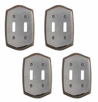 4 Colonial Chrome 5 1/4 in. H Braided Double Toggle Switch Plate