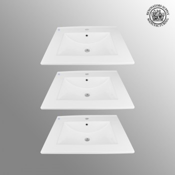 <PRE>3 Bathroom Drop-in Sink Square Self-Rimming White China </PRE>zoom2