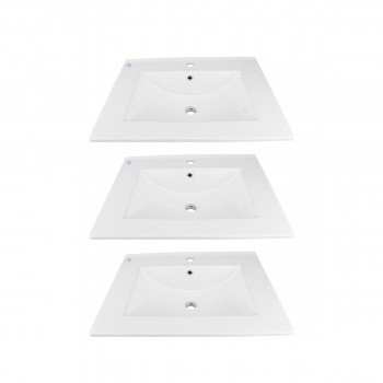 <PRE>3 Bathroom Drop-in Sink Square Self-Rimming White China </PRE>zoom1