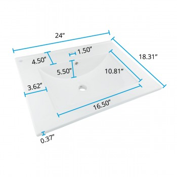 spec-<PRE>3 Bathroom Drop-in Sink Square Self-Rimming White China </PRE>
