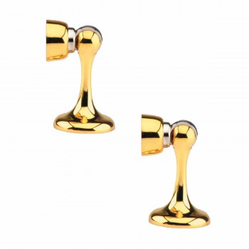 Magnetic Floor or Wall Mount Door Stop Safety Catch Gold Zinc Alloy Set of 2