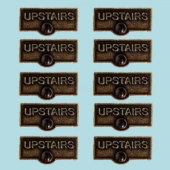 <PRE>10 Switch Plate Tags UPSTAIRS Name Signs Labels Cast Brass </PRE>zoom2