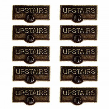 10 Switch Plate Tags UPSTAIRS Name Signs Labels Cast Brass Switch Plate Labels Switch Plate ID Labels Switch Plate Label