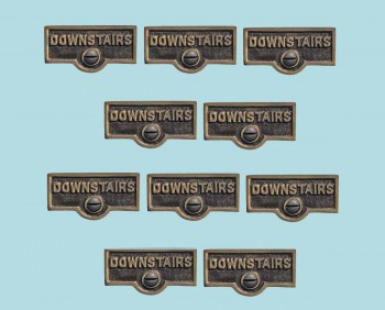 <PRE>10 Switch Plate Tags DOWNSTAIRS Name Signs Labels Cast Brass </PRE>zoom2