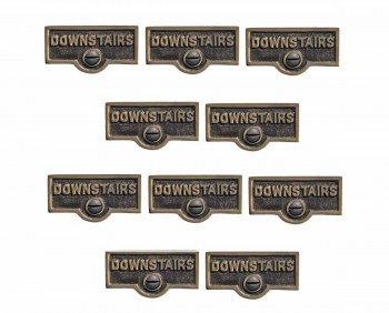 <PRE>10 Switch Plate Tags DOWNSTAIRS Name Signs Labels Cast Brass </PRE>zoom1