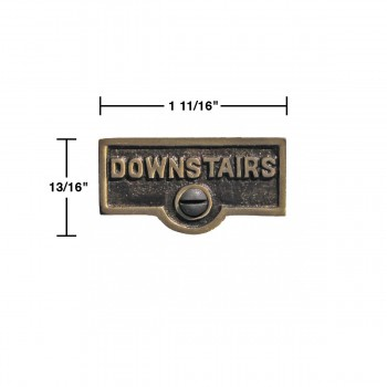 spec-<PRE>10 Switch Plate Tags DOWNSTAIRS Name Signs Labels Cast Brass </PRE>