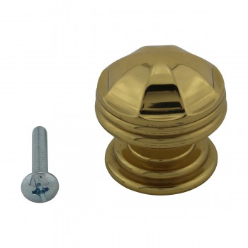 <PRE>10 Cabinet Knob Bright Brass 1 1/4inch Dia Octagonal </PRE>zoom3