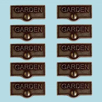 <PRE>10 Switch Plate Tags GARDEN Name Signs Labels Cast Brass </PRE>zoom2