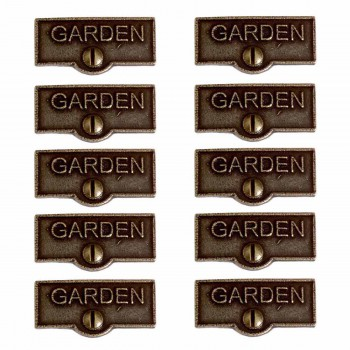 <PRE>10 Switch Plate Tags GARDEN Name Signs Labels Cast Brass </PRE>zoom1