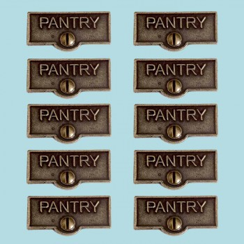 10 Switch Plate Tags PANTRY Name Signs Labels Cast Brass Switch Plate Labels Switch Plate ID Labels Switch Plate Label