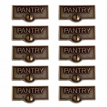 <PRE>10 Switch Plate Tags PANTRY Name Signs Labels Cast Brass </PRE>zoom1