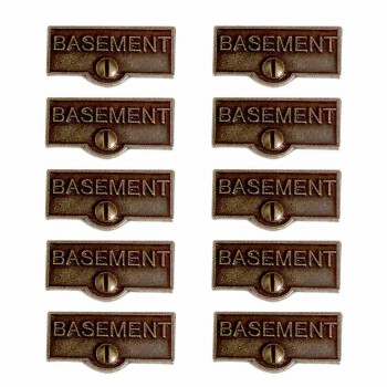 <PRE>10 Switch Plate Tags BASEMENT Name Signs Labels Cast Brass </PRE>zoom1