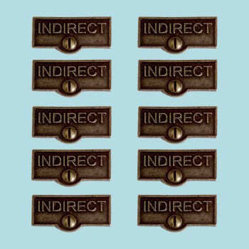 <PRE>10 Switch Plate Tags INDIRECT Name Signs Labels Cast Brass </PRE>zoom2