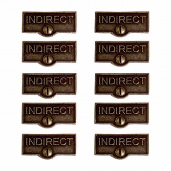 <PRE>10 Switch Plate Tags INDIRECT Name Signs Labels Cast Brass </PRE>zoom1