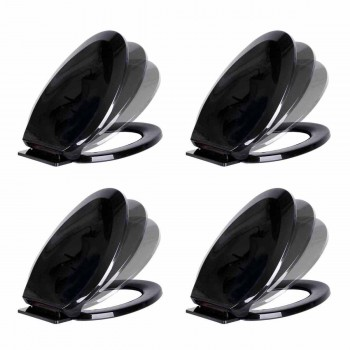 4 No Slam Toilet Seat Easy Close Black Plastic Elongated
