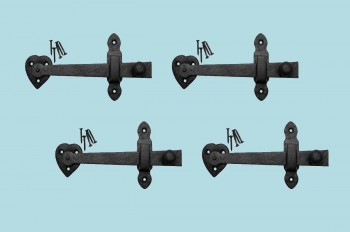 <PRE>4 Gate Latches Hear Shape Black Wrought Iron Set of 4 </PRE>zoom2