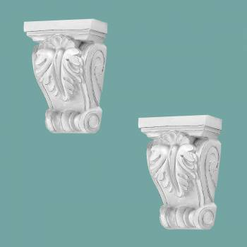 <PRE>2 Victorian Wall Fireplace Corbel White Urethane Vintage Set of 2</PRE>zoom2