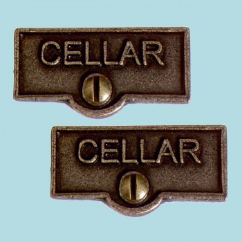<PRE>2 Switch Plate Tags CELLAR Name Signs Labels Cast Brass </PRE>zoom2