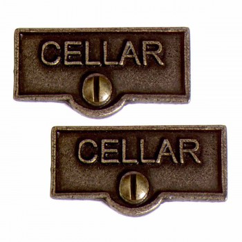 <PRE>2 Switch Plate Tags CELLAR Name Signs Labels Cast Brass </PRE>zoom1