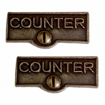 2 Switch Plate Tags COUNTER Name Signs Labels Cast Brass Switch Plate Labels Switch Plate ID Labels Switch Plate Label