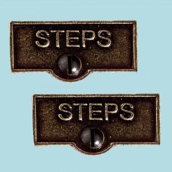 <PRE>2 Switch Plate Tags STEPS Name Signs Labels Cast Brass </PRE>zoom2