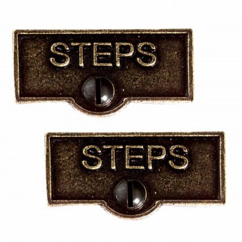 2 Switch Plate Tags STEPS Name Signs Labels Cast Brass
